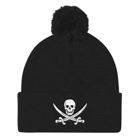 opszillastore,Calico Jack Embroidered Pom Pom Knit Cap,