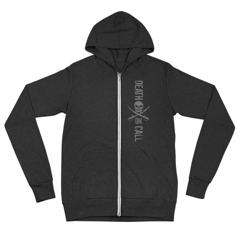 Death On Call Unisex zip hoodie - Charcoal black Triblend / XS