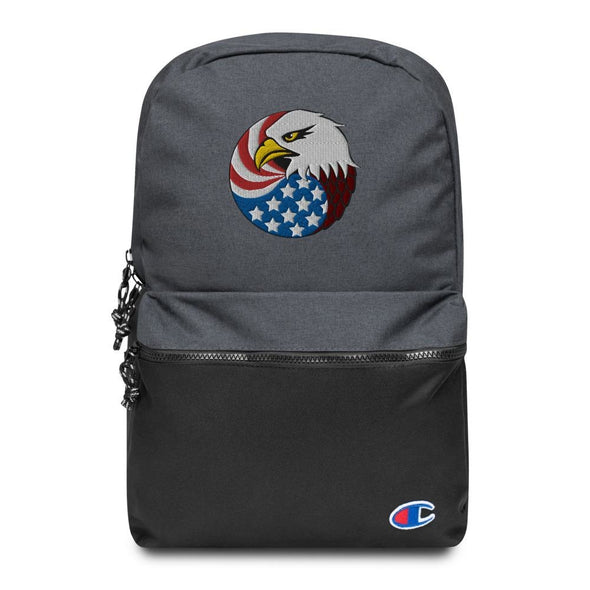 Eagle Head and USA Flag Embroidered Champion Backpack