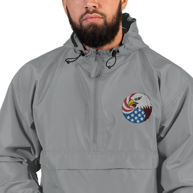 opszillastore,Eagle Head and USA Flag Embroidered Champion Packable Jacket,