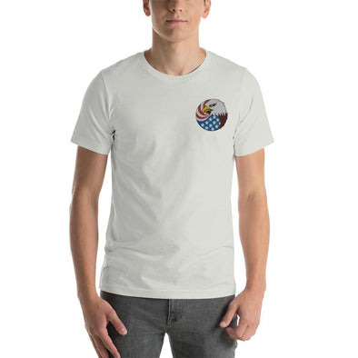 Eagle Head and USA Flag Embroidered Short-Sleeve Unisex T-Shirt