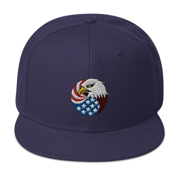 Eagle Head and USA Flag Embroidered Snapback Hat