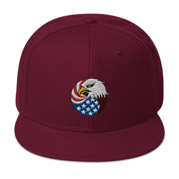 opszillastore,Eagle Head and USA Flag Embroidered Snapback Hat,