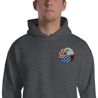 opszillastore,Eagle Head and USA Flag Embroidered Unisex Hoodie,