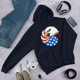 Eagle Head and USA Flag Unisex Hoodie - Navy / S