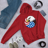 Eagle Head and USA Flag Unisex Hoodie - Red / S