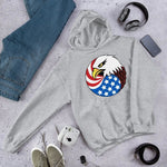 Eagle Head and USA Flag Unisex Hoodie - Sport Grey / S