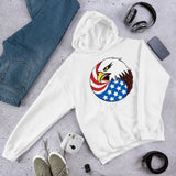 Eagle Head and USA Flag Unisex Hoodie - White / S