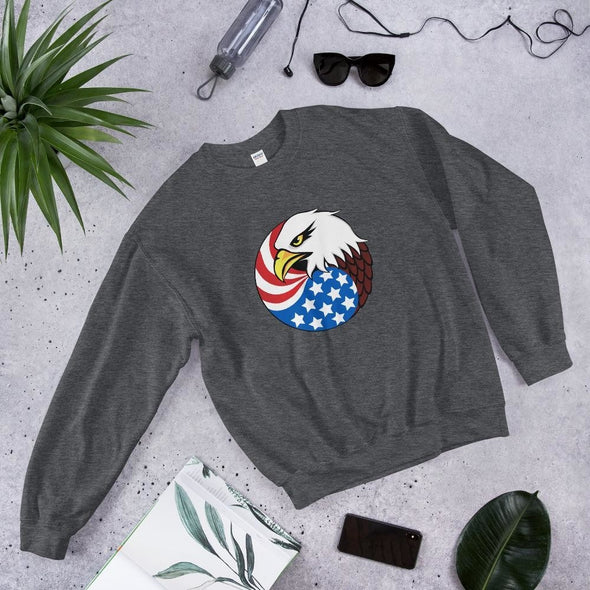 opszillastore,Eagle Head and USA Flag Unisex Sweatshirt,