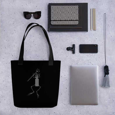 Frogman SCUBA Tank and Trident Tote bag