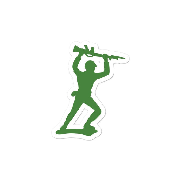 Little Green Army Men Attacking Rifleman Bubble-free stickers - 3x3