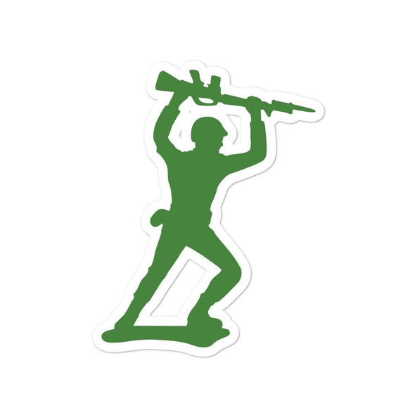 Little Green Army Men Attacking Rifleman Bubble-free stickers - 4x4