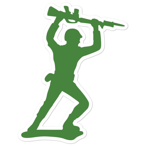 Little Green Army Men Attacking Rifleman Bubble-free stickers - 5.5x5.5