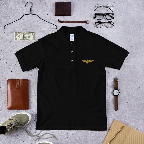 opszillastore,Naval Aviator Wings Embroidered Polo Shirt,