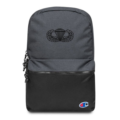 Parachutist Badge Embroidered Champion Backpack - Heather Black / Black