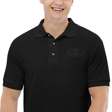 Parachutist Badge Embroidered Polo Shirt - Black / S