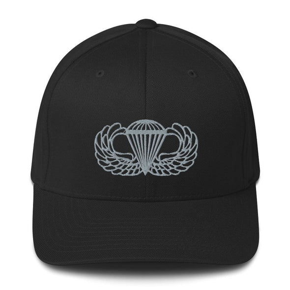 Parachutist Badge Embroidered Structured Twill Cap - Black / S/M