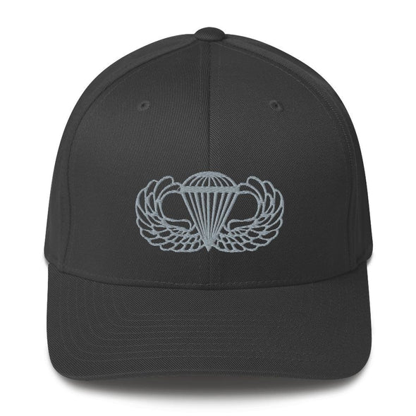 Parachutist Badge Embroidered Structured Twill Cap - Dark Grey / S/M