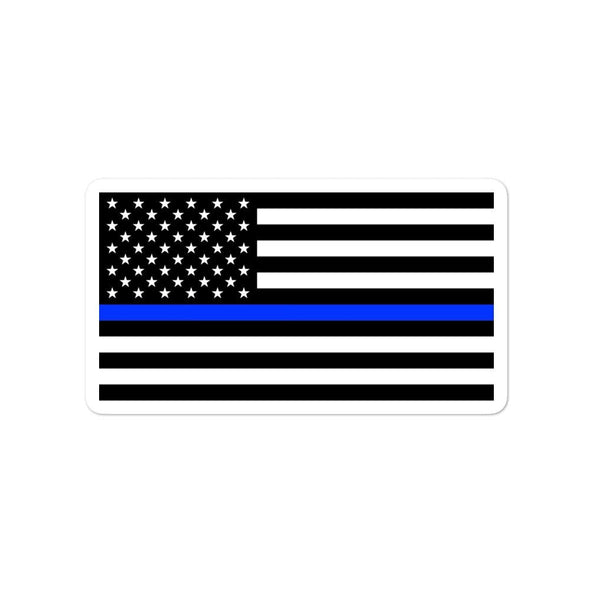 opszillastore,Thin Blue Line American Flag Bubble-free stickers,