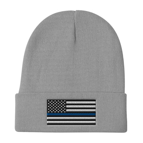 opszillastore,Thin Blue Line American Flag Embroidered Beanie,