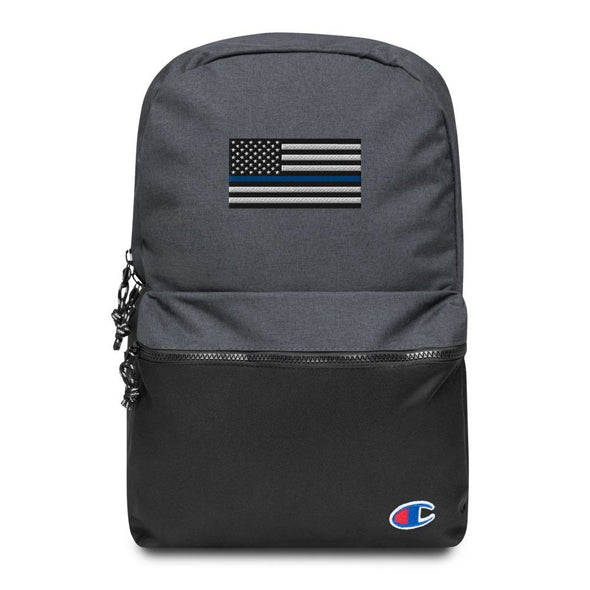 Thin Blue Line American Flag Embroidered Champion Backpack