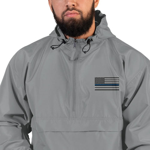 opszillastore,Thin Blue Line American Flag Embroidered Champion Packable Jacket,