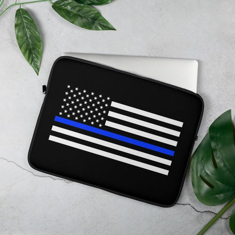 opszillastore,Thin Blue Line American Flag Laptop Sleeve,