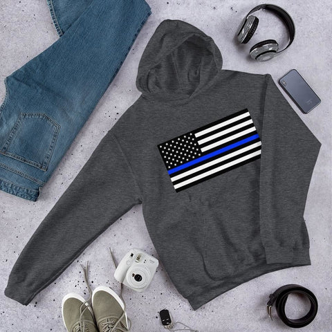 opszillastore,Thin Blue Line American Flag Unisex Hoodie,