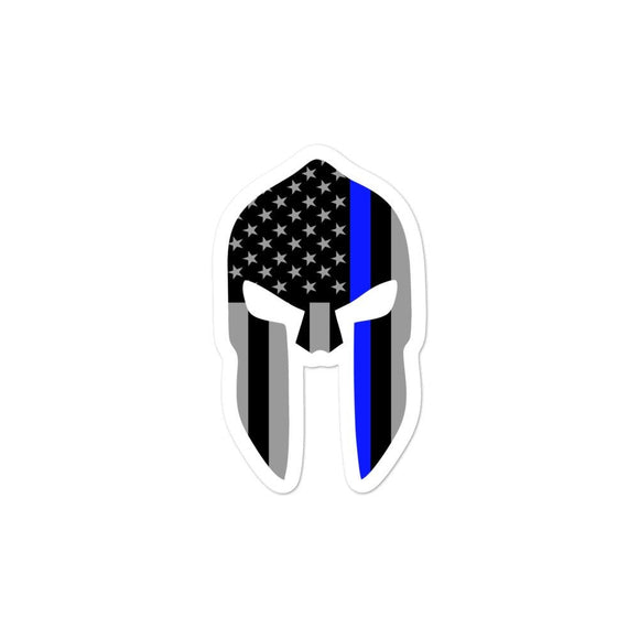 opszillastore,Thin Blue Line Spartan Helmet Bubble-free stickers,