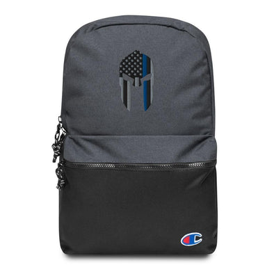 Thin Blue Line Spartan Helmet Embroidered Champion Backpack
