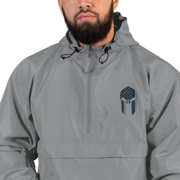 opszillastore,Thin Blue Line Spartan Helmet Embroidered Champion Packable Jacket,