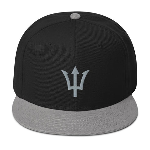Trident Embroidered Snapback Hat - Gray / Black / Black