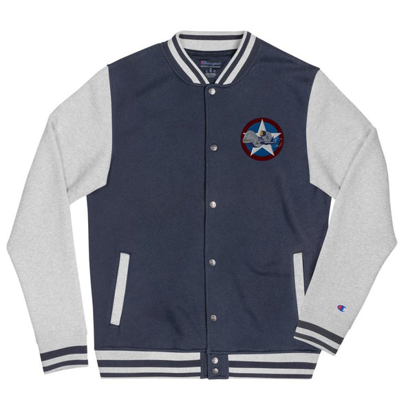 UAV Drone Embroidered Champion Bomber Jacket - Navy/ Oxford Grey / S