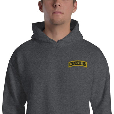 United States Army RANGER Tab Embroidered Unisex Hoodie - Dark Heather / S