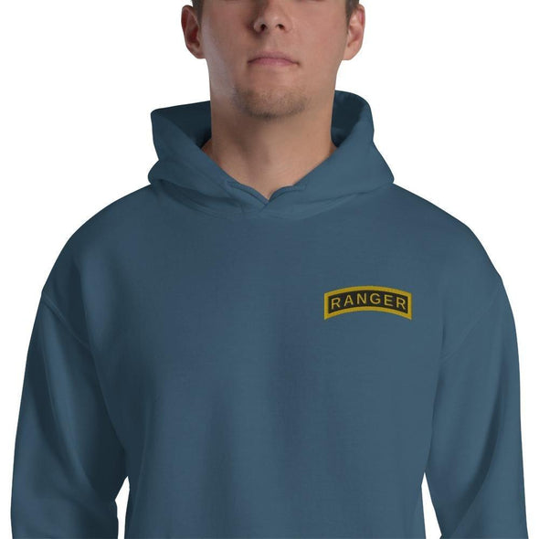 United States Army RANGER Tab Embroidered Unisex Hoodie - Indigo Blue / S