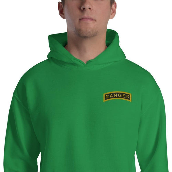 United States Army RANGER Tab Embroidered Unisex Hoodie - Irish Green / S
