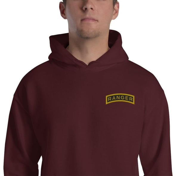 United States Army RANGER Tab Embroidered Unisex Hoodie - Maroon / S