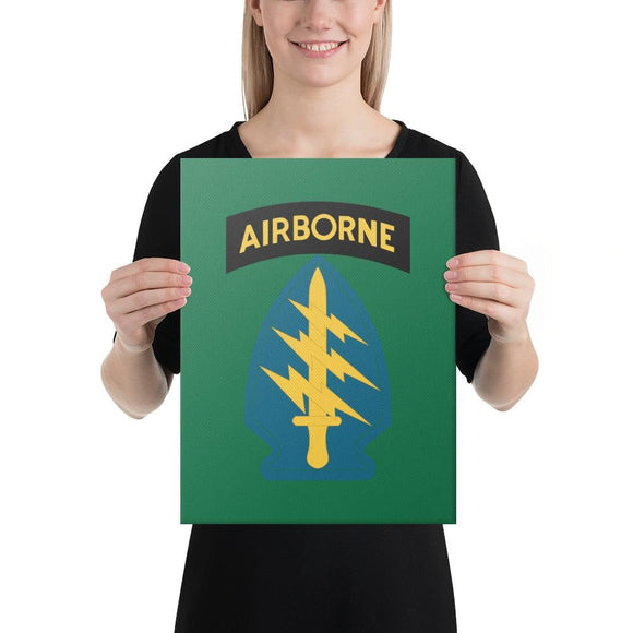 United States Army Special Forces Airborne Canvas - 12×16