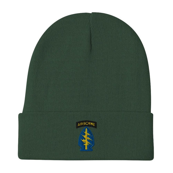 United States Army Special Forces Airborne Embroidered Beanie - Dark green