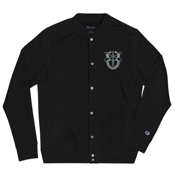 United States Army Special Forces Crest Embroidered Champion Bomber Jacket - Black / S