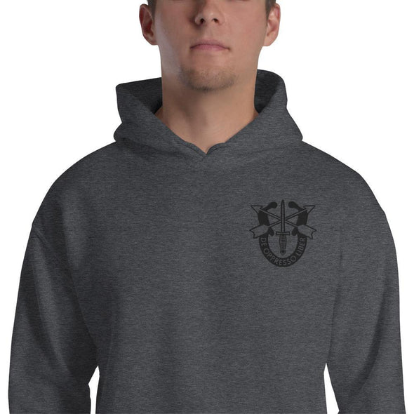United States Army Special Forces Crest Embroidered Unisex Hoodie - Dark Heather / S