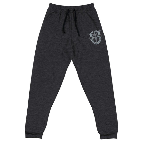 United States Army Special Forces Crest Embroidered Unisex Joggers - Black Heather / S