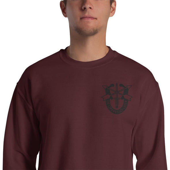 United States Army Special Forces Crest Embroidered Unisex Sweatshirt - Maroon / S