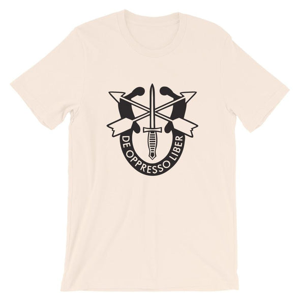 United States Army Special Forces Crest Short-Sleeve Unisex T-Shirt - Soft Cream / S