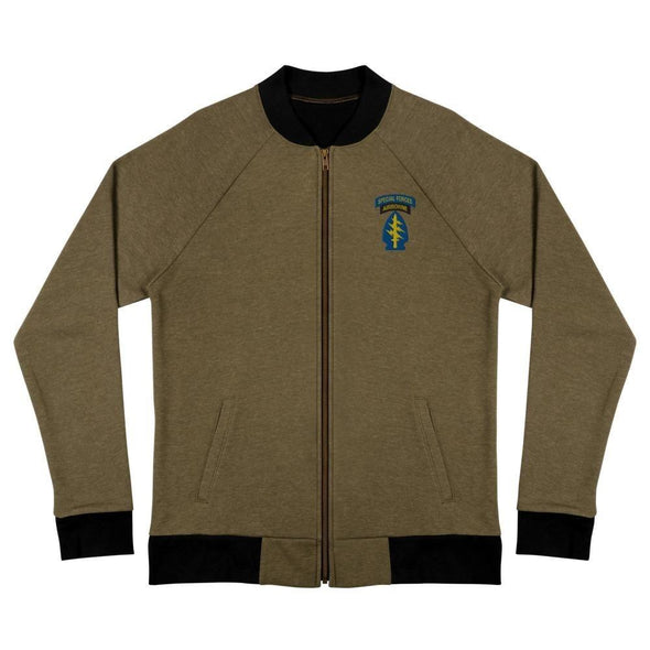 United States Army Special Forces Tab & Patch Embroidered Bomber Jacket - Heather Military Green / S