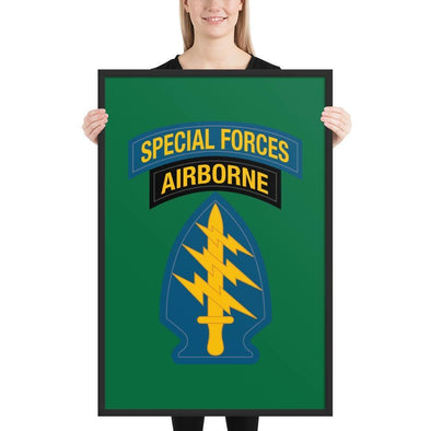 United States Army Special Forces Tab & Patch Framed poster - 24×36