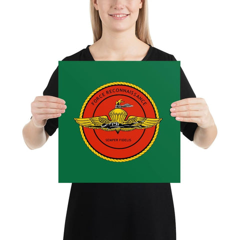United States Marine Corps (USMC) Force Recon Poster - 14×14