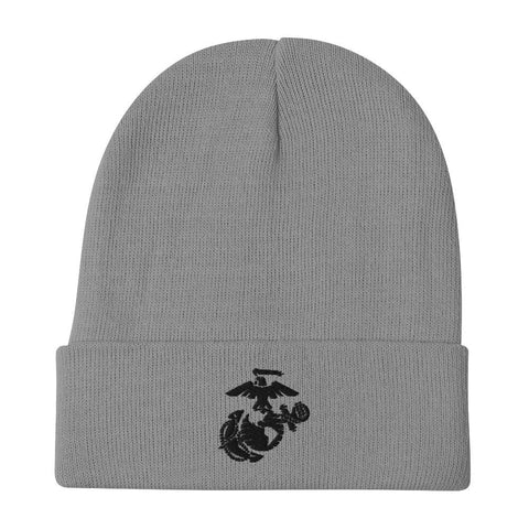 United States Marine Corps (USMC) Globe and Eagle Embroidered Beanie - Gray