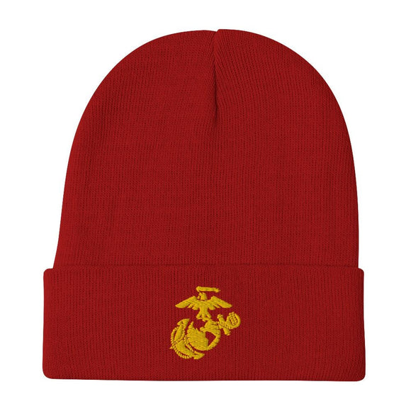United States Marine Corps (USMC) Globe and Eagle Embroidered Beanie - Red