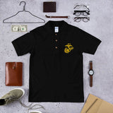 United States Marine Corps (USMC) Globe and Eagle Embroidered Polo Shirt - Black / S